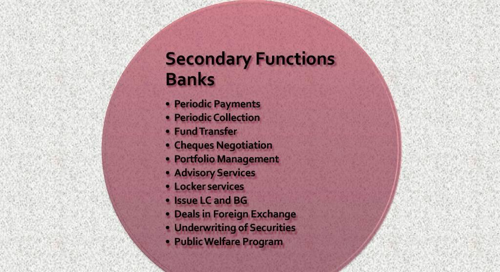 secondary functions of banks